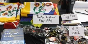 Items for sale at the Dalai Lama speech (Lori Erickson photo)