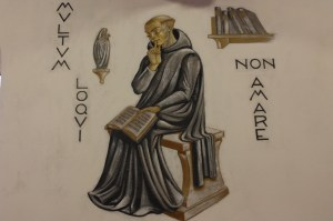 Saint Meinrad's Chapter Room includes paintings illustrating monastic themes (Bob Sessions photo).