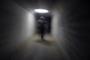 In this scene from our tour at Waverly Hills, our guide bounced his his flashlight beam on the ceiling to provide some illumination as we walked (photo courtesy of Mike Whye)