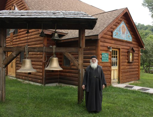 Father Simeon at St. Isaac of Syria Skete, one of the largest producers of icons in the U.S. (Lori Erickson photo).