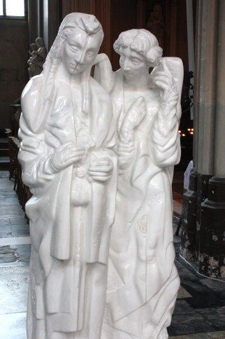 Statue of Mary and an angel in the Church of Our Lady in Bruges (Bob Sessions photo)