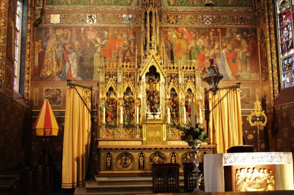 The Basilica of the Holy Blood's neo-Gothic altar in Bruges, Belgium (Bob Sessions photo)