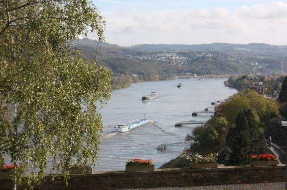 The terrace behind St. Apollinaris has a glorious view of the Rhine River. (Bob Sessions photo)
