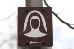 Nun sign in Bingen, Germany