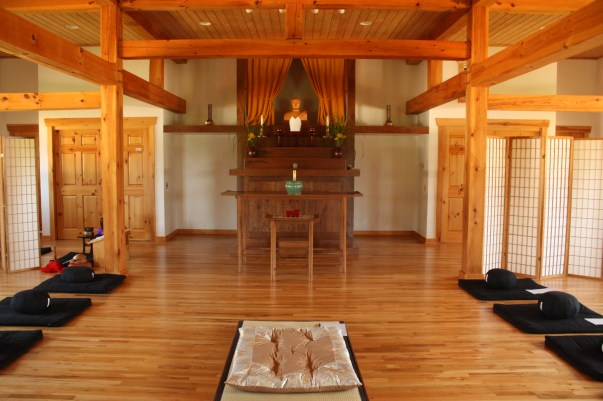 Interior of Zen temple with mats on either side