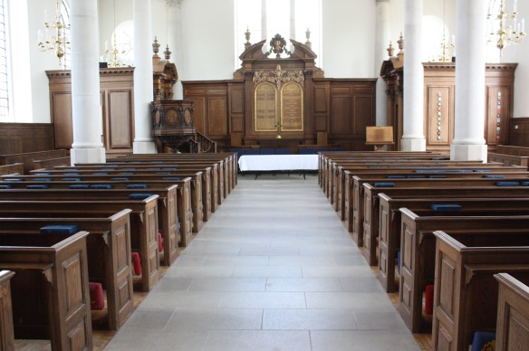 Interior of St. Mary the Virgin, Aldermanbury (Bob Sessions photo)