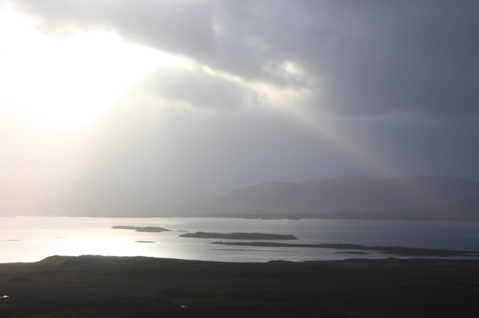 Sunlight over bay in Iceland