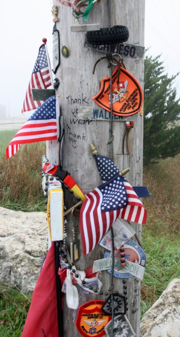 A makeshift shrine has been created by visitors to the Freedom Rock. (Bob Sessions photo)