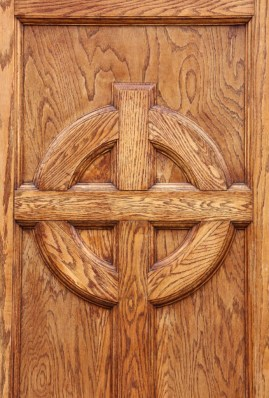 Detail from a door in the Saints Center (photo by Bob Sessions)