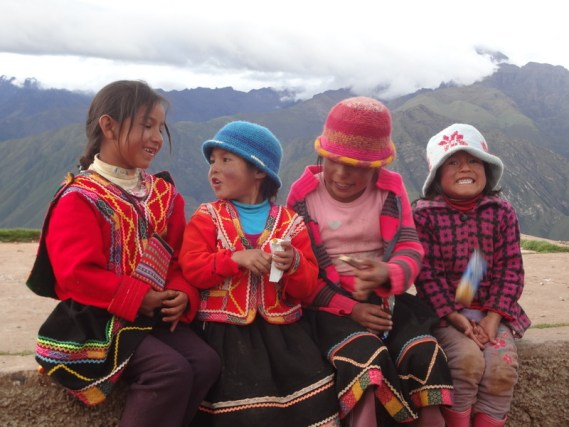 girls in Andean mountains