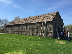 A reconstructed long house recreates 17th-century life at Ganondagan. (photo by Bob Sessions)