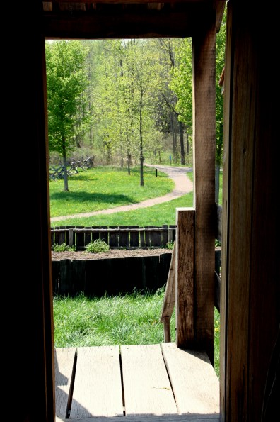 A view of the Sacred Grove from the door of the Smith log cabin (photo by Bob Sessions)