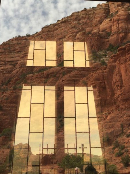 Reflections of the surrounding countryside light the windows of the Chapel of the Holy Cross in Sedona. (Bob Sessions photo)
