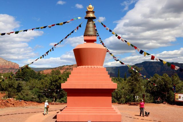 Pilgrims walking around the Amitabha Stupa Peace in Sedona, Arizona. (Bob Sessions photo)
