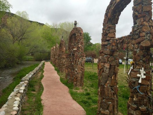 A walkway lines the river bank at Chimayo. (Bob Sessions photo)