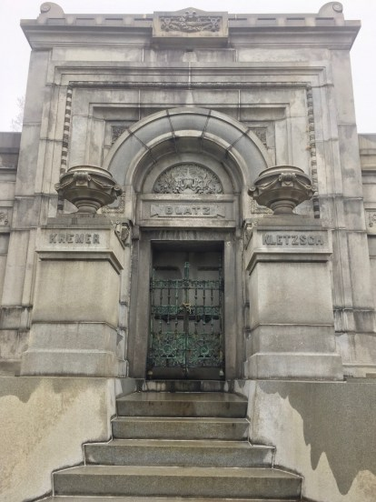 Blatz mausoleum in Milwaukee, elaborate mausoleum, mausoleum door, mausoleum with steps leading into it