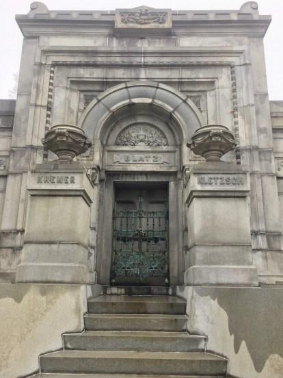 Blatz mausoleum in Milwaukee, elaborate mausoleum, mausoleum door, mausoleum with steps leading into it