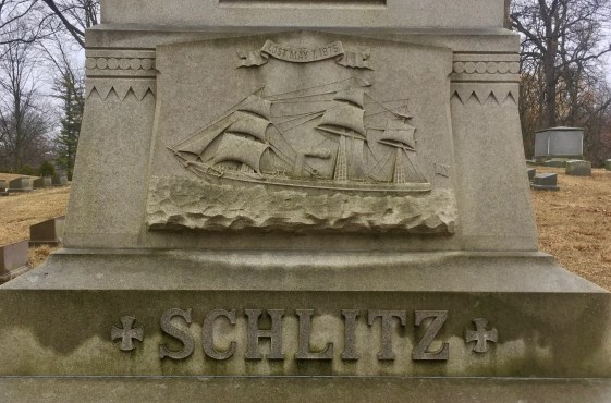 Schlitz grave marker, sailing ship on grave marker, sailing image in graveyard, boat image in graveyard, boat imagery in death