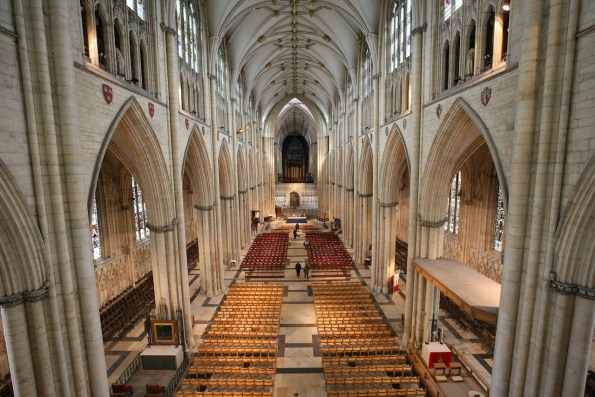 interior of York Minster, interior of cathedral, interior of Gothic cathedral