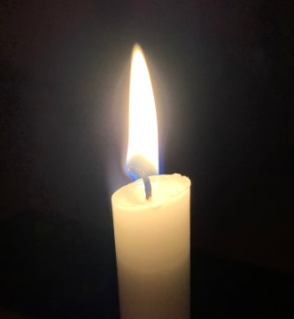 candle flame in darkness