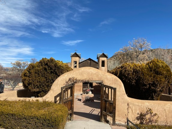 Chimayo Church with blue sky