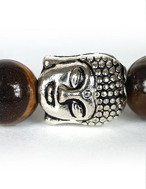 Tijgeroog-Tibetaans Zilveren Bedel Elastische Boeddhistische Armband