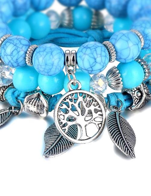 Turqueniet Blauw Tree of Life Boom van het Leven Uil Armband
