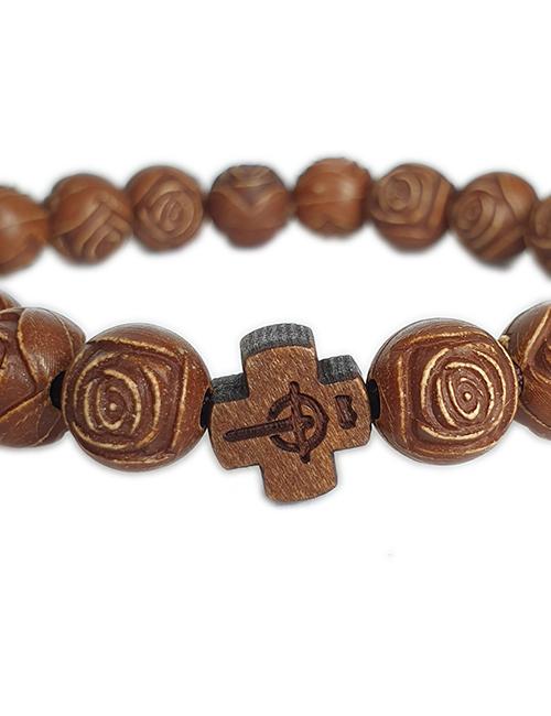 Bijbels Kruis met houten rozenkrans kralen armband