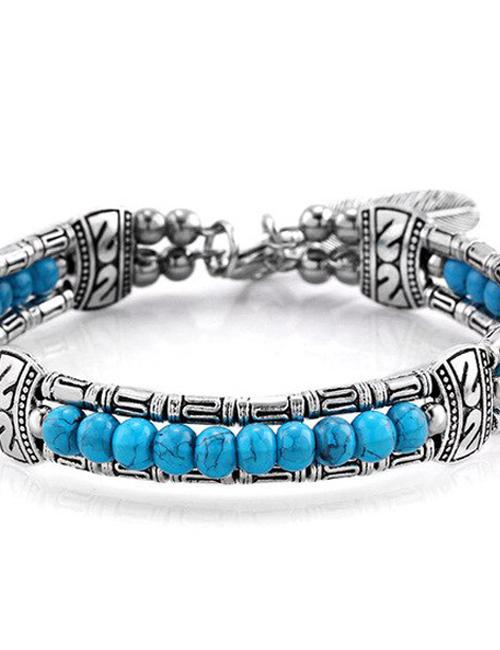 Tibetaans Bohemian Veer armband blauw