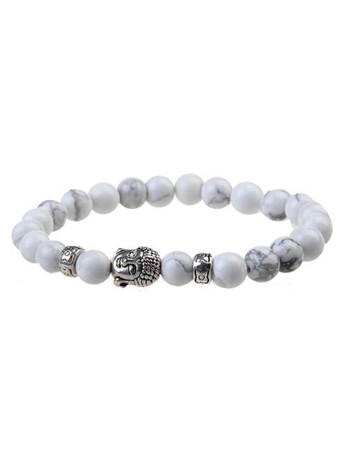 Witte Tibetaans Zilveren Bedel Elastische Boeddha Armband