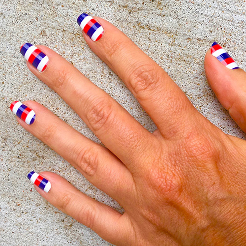 Los Angeles Angels Red White And Blue Striped Nail Stickers