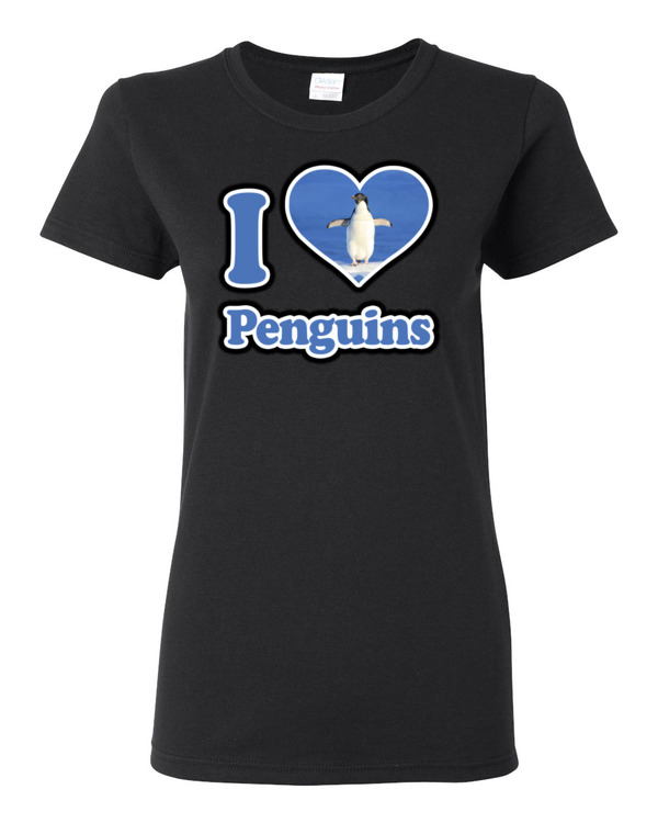 I love penguins women s t shirt spirit west designs for Best place to get t shirts printed