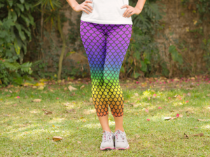 Mermaid Leggings, Rainbow pattern yoga pants, stretchy mermaid pants, Leggings, Yoga Pants, Tights, spandex pants, yoga apparel, meditaion, yoga365, yoga every day, fashion leggings, workout pants, workout clothes, dance pants, designer tights, stretchy printed leggings, roller derby, rollerderby, cosplay, volleyball, running pants, crossfit, yoga, tribal, patterned, printed cut and sewn in the USA, american made, stretchy, festival, rave, Spirit West Designs Outdoor Adventure Apparel and Home Decor