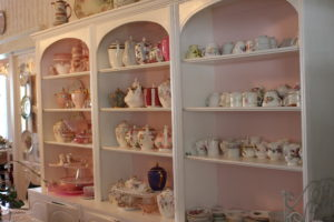 Tea items on display at Lavender and Lace.