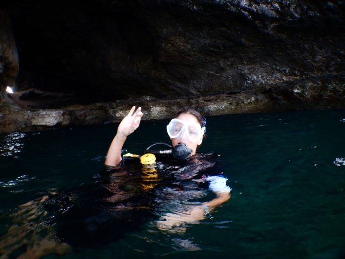 Ready for my scuba dive at Mushroom Rock dive site