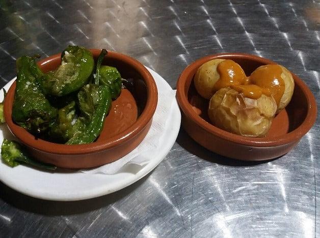 Pimientas de Padron and Papas Arugadas, food and tapas of the Canary Islands