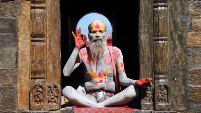 meditating art man