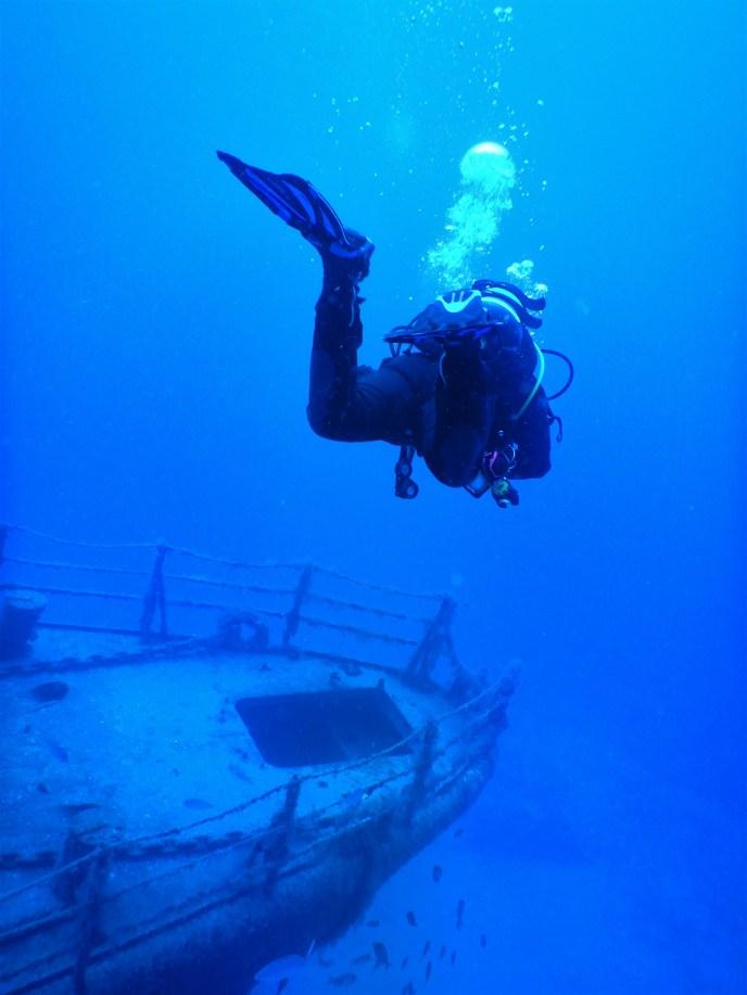descending for our wreck dive on Porto Santo Island
