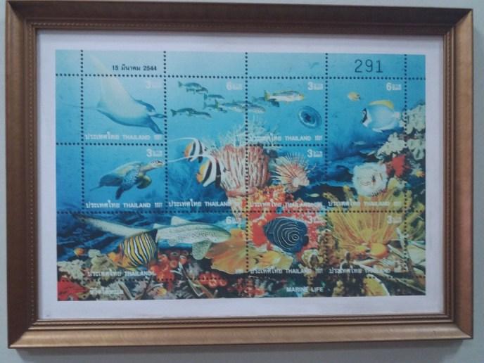 Scuba dive Thai post stamp at musuem on Phuket Island