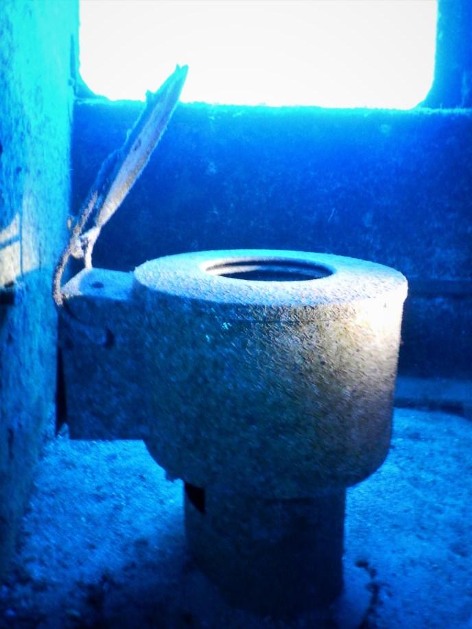 toilet during wreck diving on Porto Santo