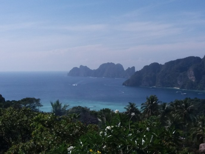 Nice for my travel blog: view from the Phi Phi Islands in Thailand