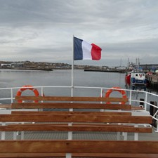 Benches on the deck of the Jeune France ship