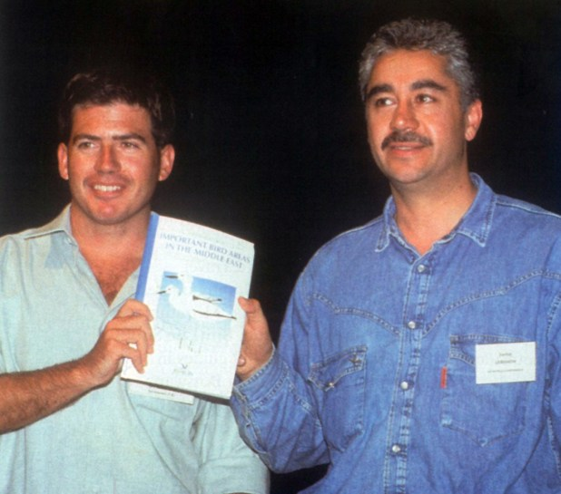 Mike Evans (BirdLife) and Assad Serhal (SPNL General Director) launching the Important Bird Areas in the Middle Eastin 1994