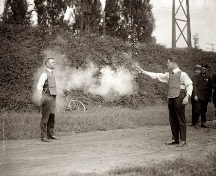 Testing a bulletproof vest in Washington, D.C. September 1923. This work is from the National Photo Company collection at the Library of Congress.