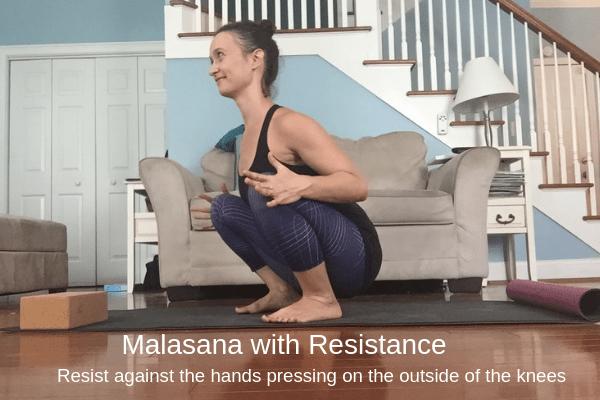 Malasana with Resistance - Yoga Squats During Pregnancy | Spoiled Yogi