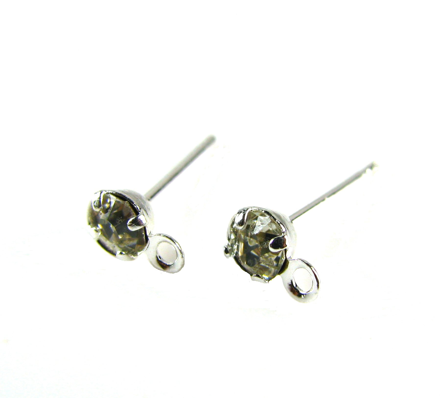 Silver Plated Ear Studs With Crystals Per Pair