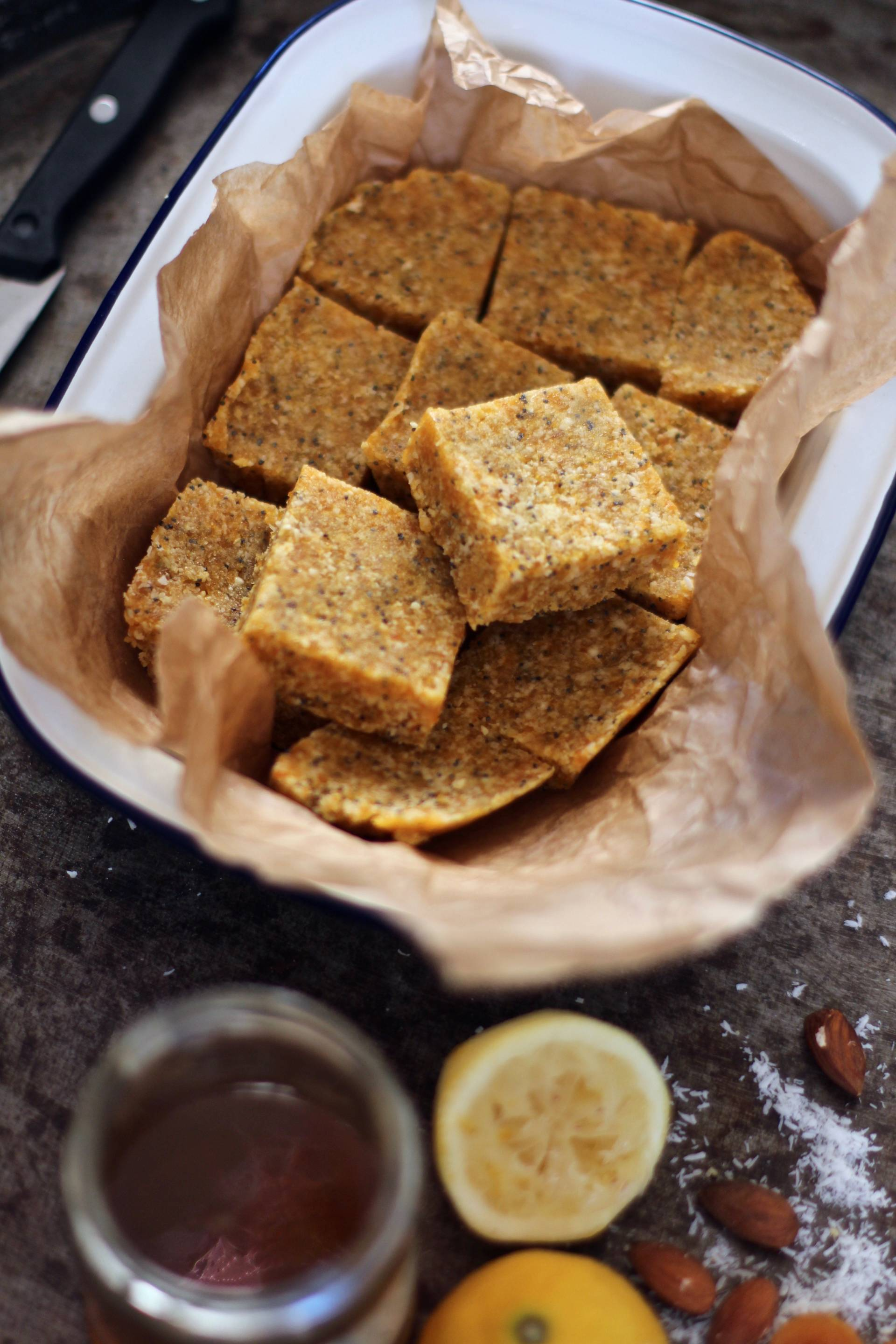 raw apricot coconut poppy seeds bars