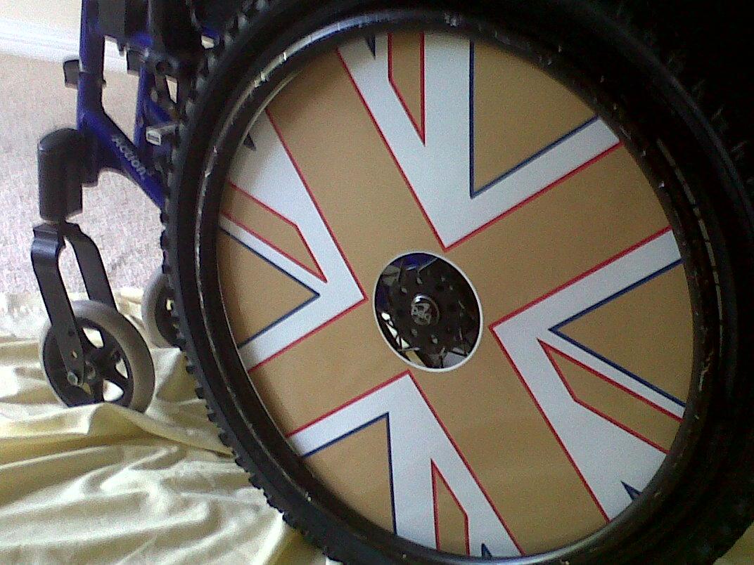 Gold Union Jack Wheelchair Wheel Covers SpkeGuards