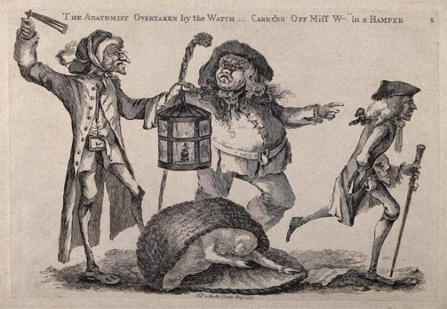 A nightwatchman disturbs a body-snatcher who has dropped the stolen corpse he had been carrying in a hamper, while the anatomist runs away. Etching with engraving by W. Austin, 1773.