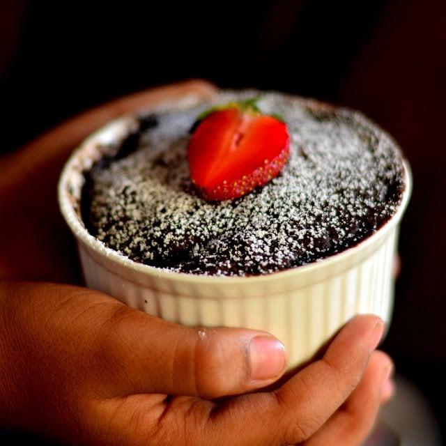 1 Minute Eggless Chocolate Mug Cake Microwave Recipe Spoon Fork And Food